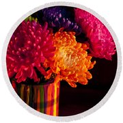 Multicolored Chrysanthemums In Paint Can On Chest Of Drawers Int Round Beach Towel