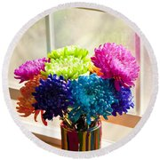 Multicolored Chrysanthemums In Paint Can On Window Sill Round Beach Towel
