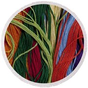 Multicolored Embroidery Thread Mixed Up  Round Beach Towel