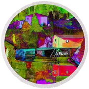 Multicolored Reflections Round Beach Towel
