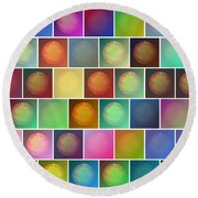 Multicolored Suns Round Beach Towel