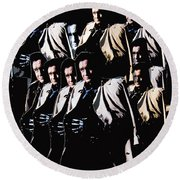 Multiple Johnny Cash's In Trench Coat 1 Collage Old Tucson Arizona 1971-2008 Round Beach Towel