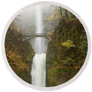 Multnomah Autumn Mist Round Beach Towel by Mike  Dawson
