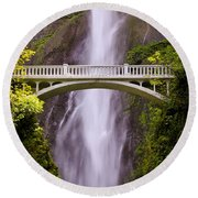 Multnomah Falls Silk Round Beach Towel