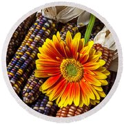 Mum And Indian Corn Round Beach Towel by Garry Gay