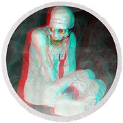 Mummy Dearest - Use Red-cyan Filtered 3d Glasses Round Beach Towel