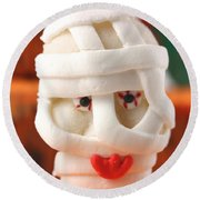 Mummy Sweet On Halloween Cup Cake Round Beach Towel