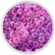 Mums In Purple - Featured In 'comfortable Art' And 'nature Photography' Groups Round Beach Towel