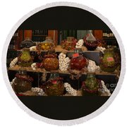 Munich Market With Pickles And Olives Round Beach Towel