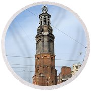 Munttoren In Amsterdam Round Beach Towel
