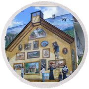 Mural In Beaupre Quebec Round Beach Towel