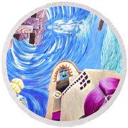 Church Mural Round Beach Towel