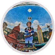 Mural Of Stephen F Austin Off Guadalupe Round Beach Towel