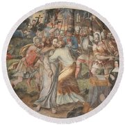 Mural Painting Abbey Fontevraud Round Beach Towel