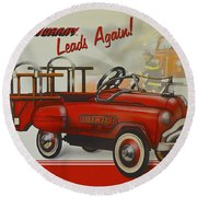 Murray Fire Truck Round Beach Towel