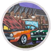 Muscle Cars Round Beach Towel