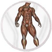 Muscular Man Standing Round Beach Towel