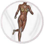 Muscular Woman Running Round Beach Towel