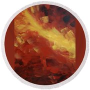 Muse In The Fire 1 Round Beach Towel