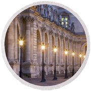 Musee Du Louvre Lamps Round Beach Towel