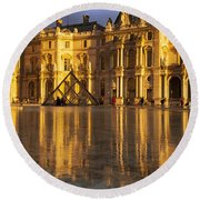 Musee Du Louvre Sunset Round Beach Towel