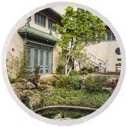Museum Courtyard - Beautiful Courtyard Of The Pacific Asia Museum In Pasadena. Round Beach Towel