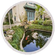 Museum Koi - Courtyard Of The Pacific Asia Museum In Pasadena. Round Beach Towel