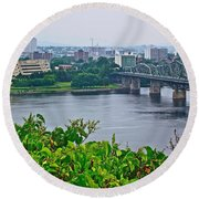 Museum Of Civilization Across The Ottawa River In Gatineau-qc Round Beach Towel