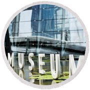 Museum Reflection Round Beach Towel