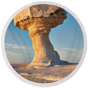 Mushroom Formation In White Desert  Round Beach Towel