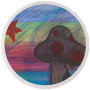 Mushroom And Star Round Beach Towel