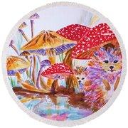 Mushrooms And Hedgehogs Round Beach Towel