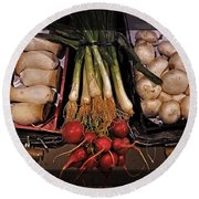 Mushrooms And Radishes Framed Round Beach Towel