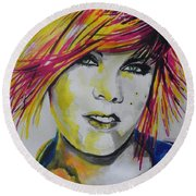 Music Artist..pink Round Beach Towel
