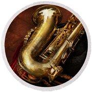 Music - Brass - Saxophone  Round Beach Towel