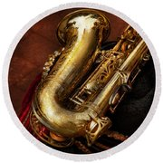 Music - Brass - Saxophone  Round Beach Towel by Mike Savad