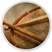 Music - Drum - Cadence  Round Beach Towel by Mike Savad