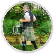 Music - Drummer In Pipe Band Round Beach Towel
