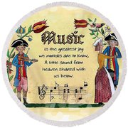 Music Fraktur Round Beach Towel