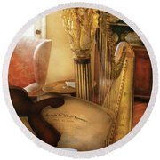 Music - Harp - The Harp Round Beach Towel
