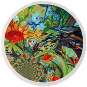 Music In Bird Of Tree Assymetrical Round Beach Towel