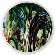 Music In Bird Of Tree Drip Painting Round Beach Towel