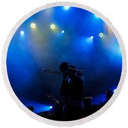 Music In Blue - Montreal Jazz Festival Round Beach Towel