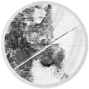 Music In My Soul Black And White Round Beach Towel