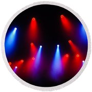 Music In Red And Blue - The Wonderful Sound Of Nightlife Round Beach Towel