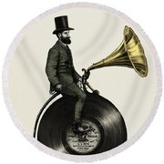 Music Man Round Beach Towel by Eric Fan