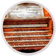 Music - Organist - The Pipe Organ Round Beach Towel by Mike Savad