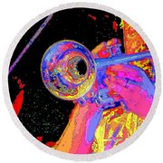 Music Out Of Metal V Round Beach Towel
