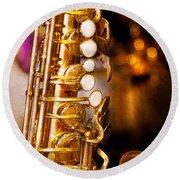 Music - Sax - Sweet Jazz  Round Beach Towel by Mike Savad