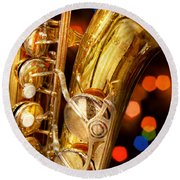 Music - Sax - Very Saxxy Round Beach Towel